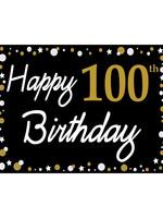 Happy 100th Birthday - Black, Gold & White Yard Sign