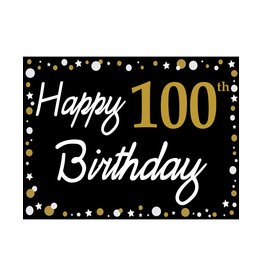 Happy 100th Birthday - Black, Gold & White Yard Sign