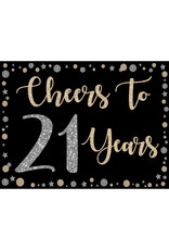 Cheers to 21 Years Yard Sign