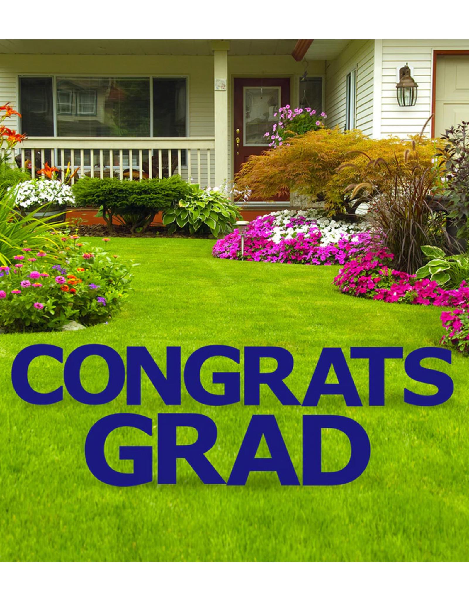 Congrats Grad Dark Navy Blue Yard Signs