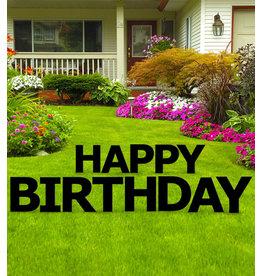 Happy Birthday Black Yard Signs