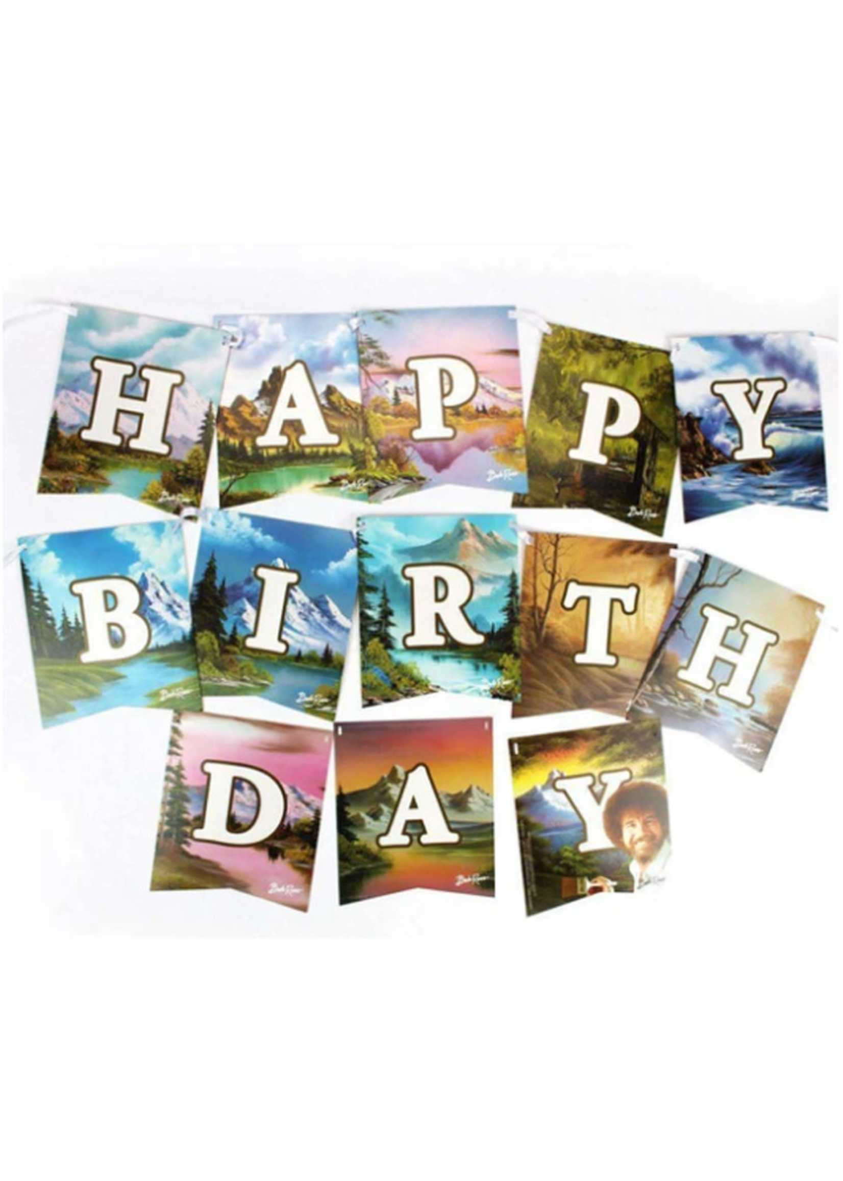 PRIME PARTY Bob Ross Classic Jointed Birthday Banner Sign