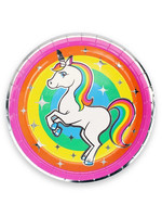 "PRIME PARTY Rainbow Unicorn 9"" Dinner Plates (8 Pack)"