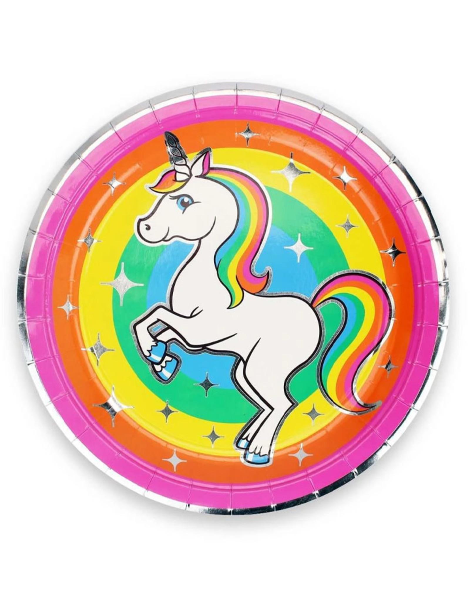 "PRIME PARTY Rainbow Unicorn 9"" Dinner Plates (8 Pack)"