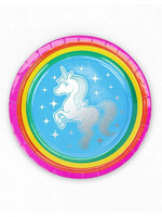 "PRIME PARTY Rainbow Unicorn 7"" Dessert Plates (8 Pack)"