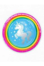 "PRIME PARTY Rainbow Unicorn 7"" Dessert Plates (8 Pack)"
