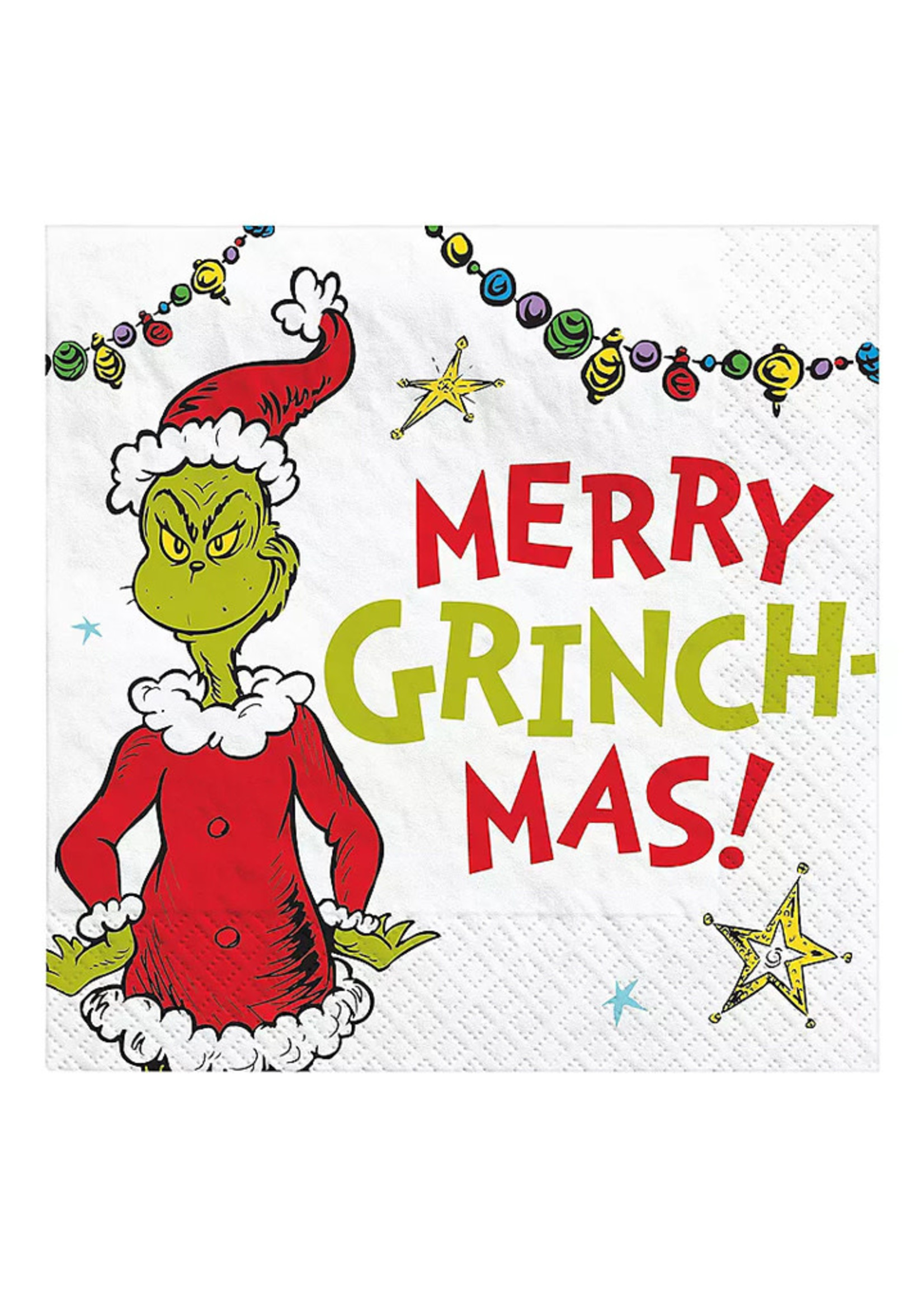Merry Grinchmas Beverage Napkins - 16ct