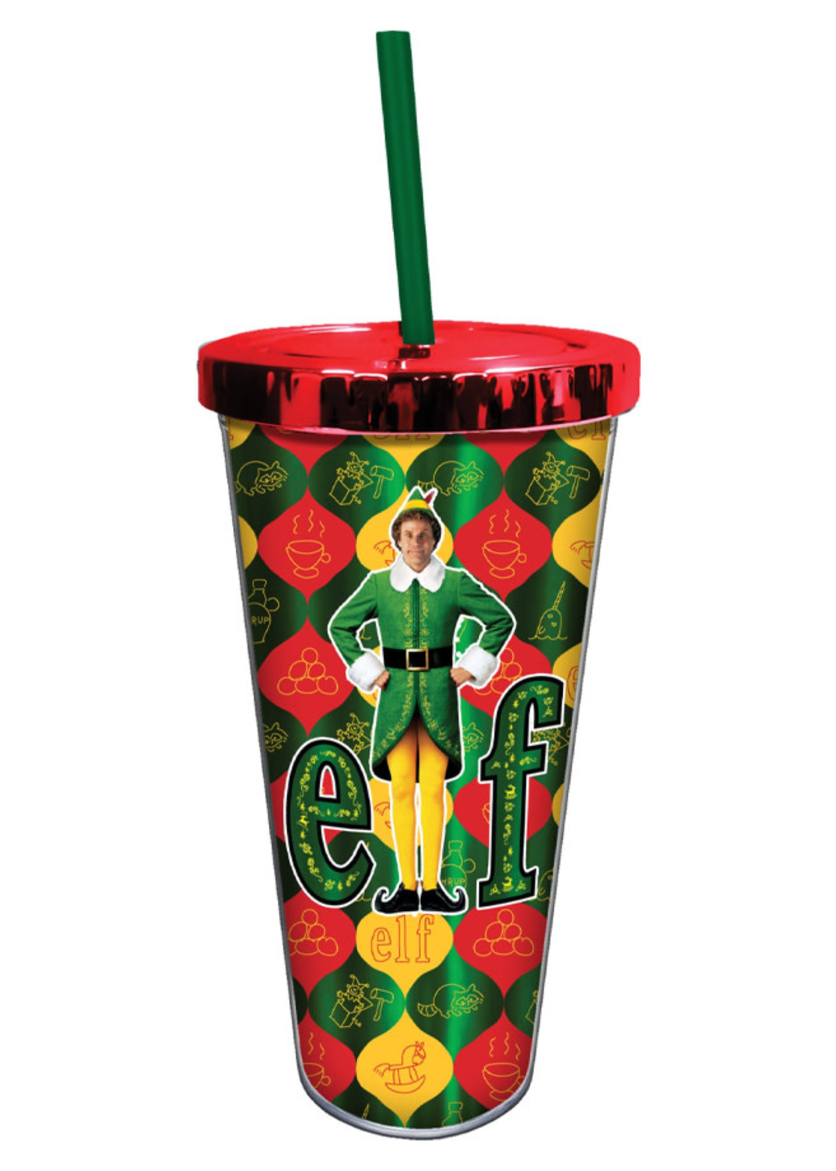 SPOONTIQUE Elf - Foil 20 Oz. Cup with Straw