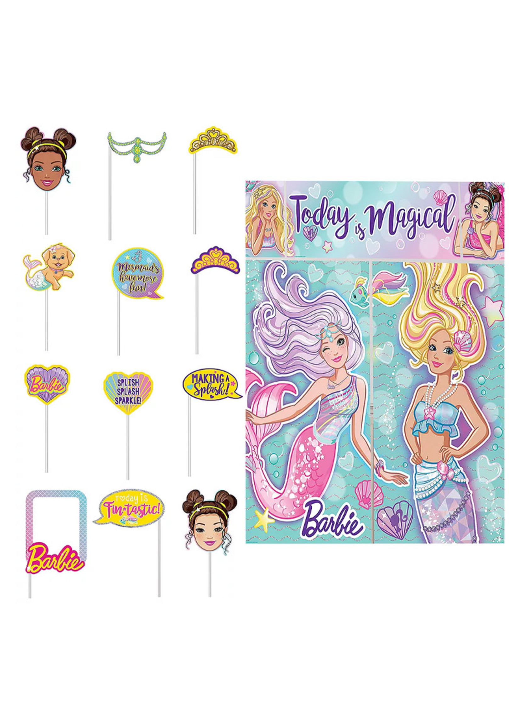 Barbie Mermaid Scene Setter with Photo Booth Props