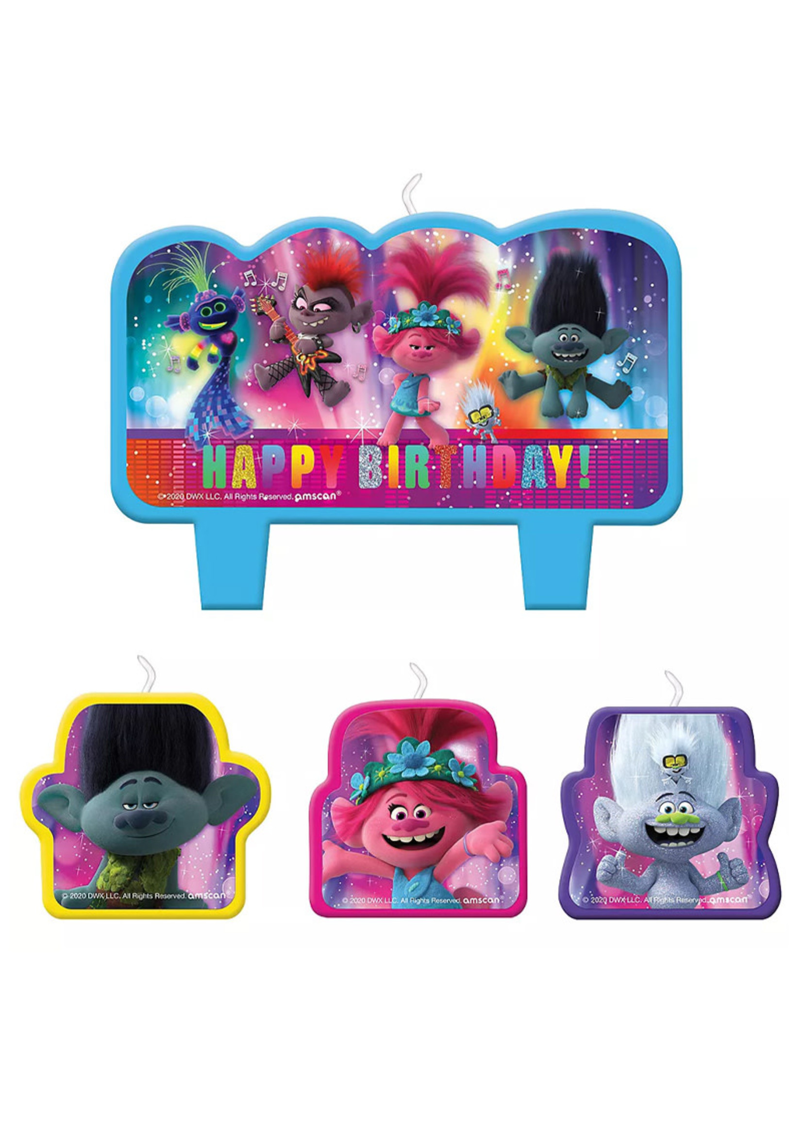 Trolls World Tour Birthday Candles 4ct