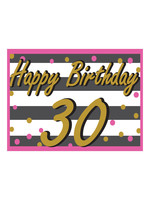 Happy Birthday 30th Pink & Gold Yard Sign