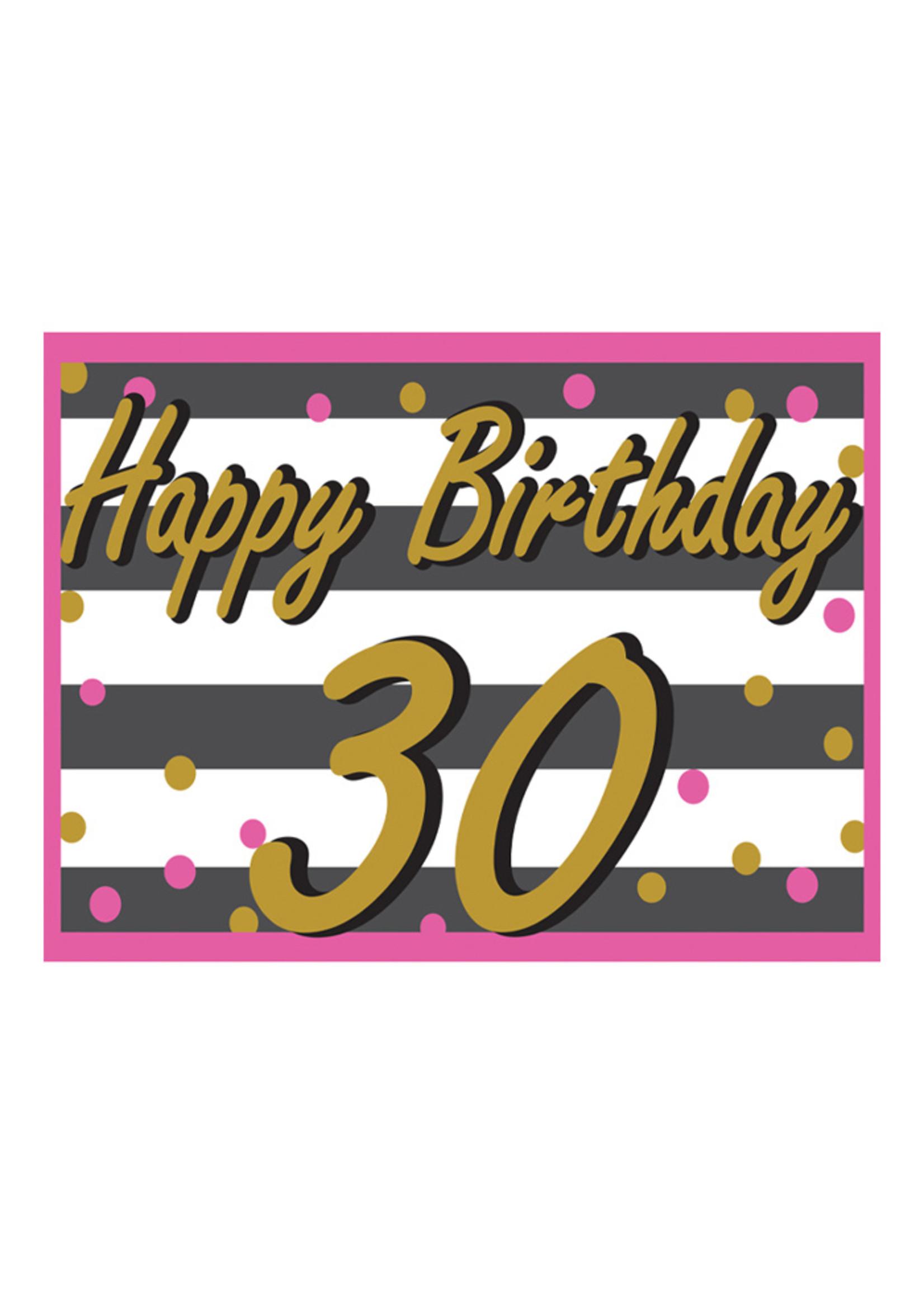 Happy Birthday 30th Pink & Gold Yard Sign