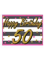 Happy Birthday 50th Pink & Gold Yard Sign