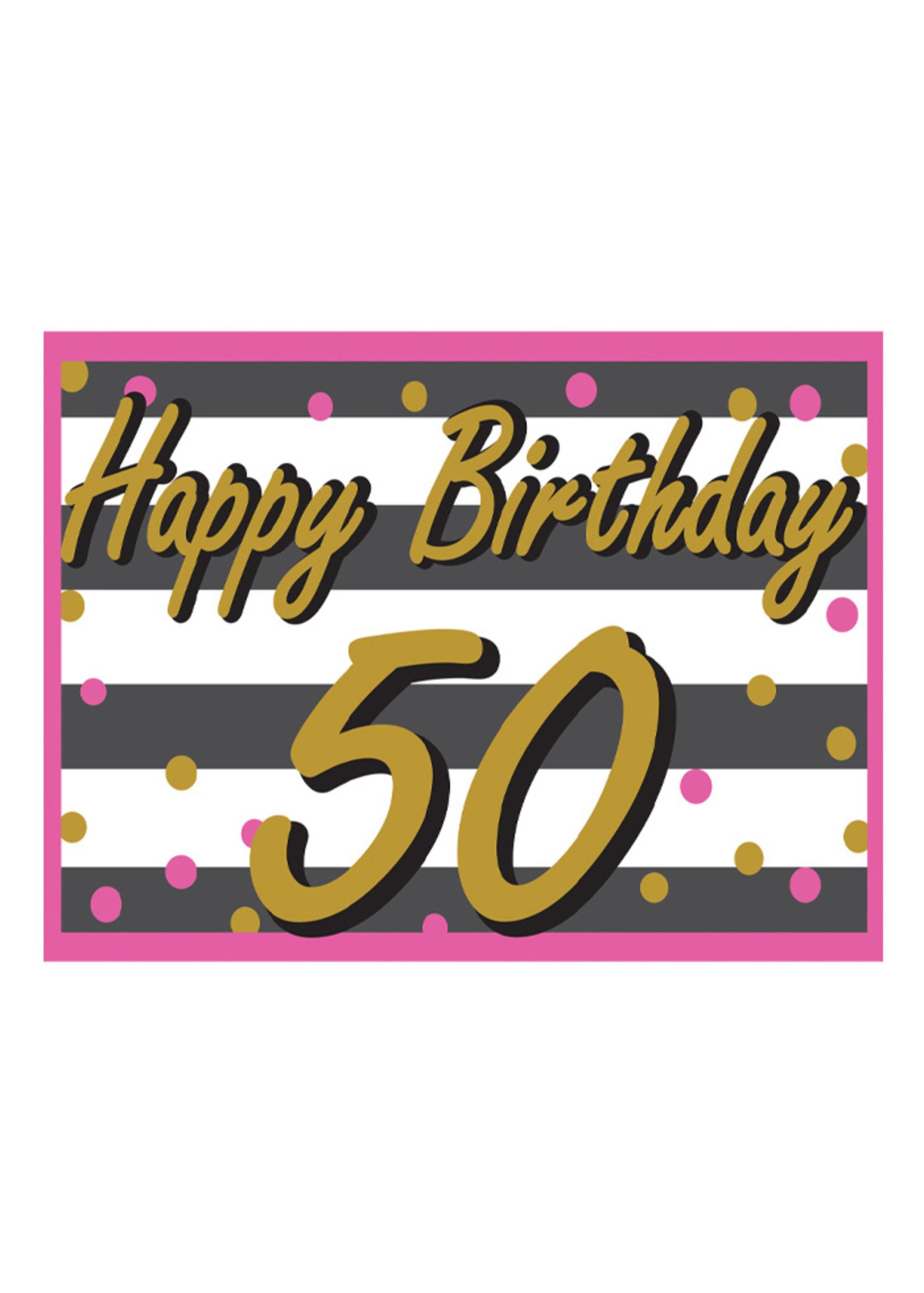 Happy Birthday 50th Pink & Gold Yard Sign