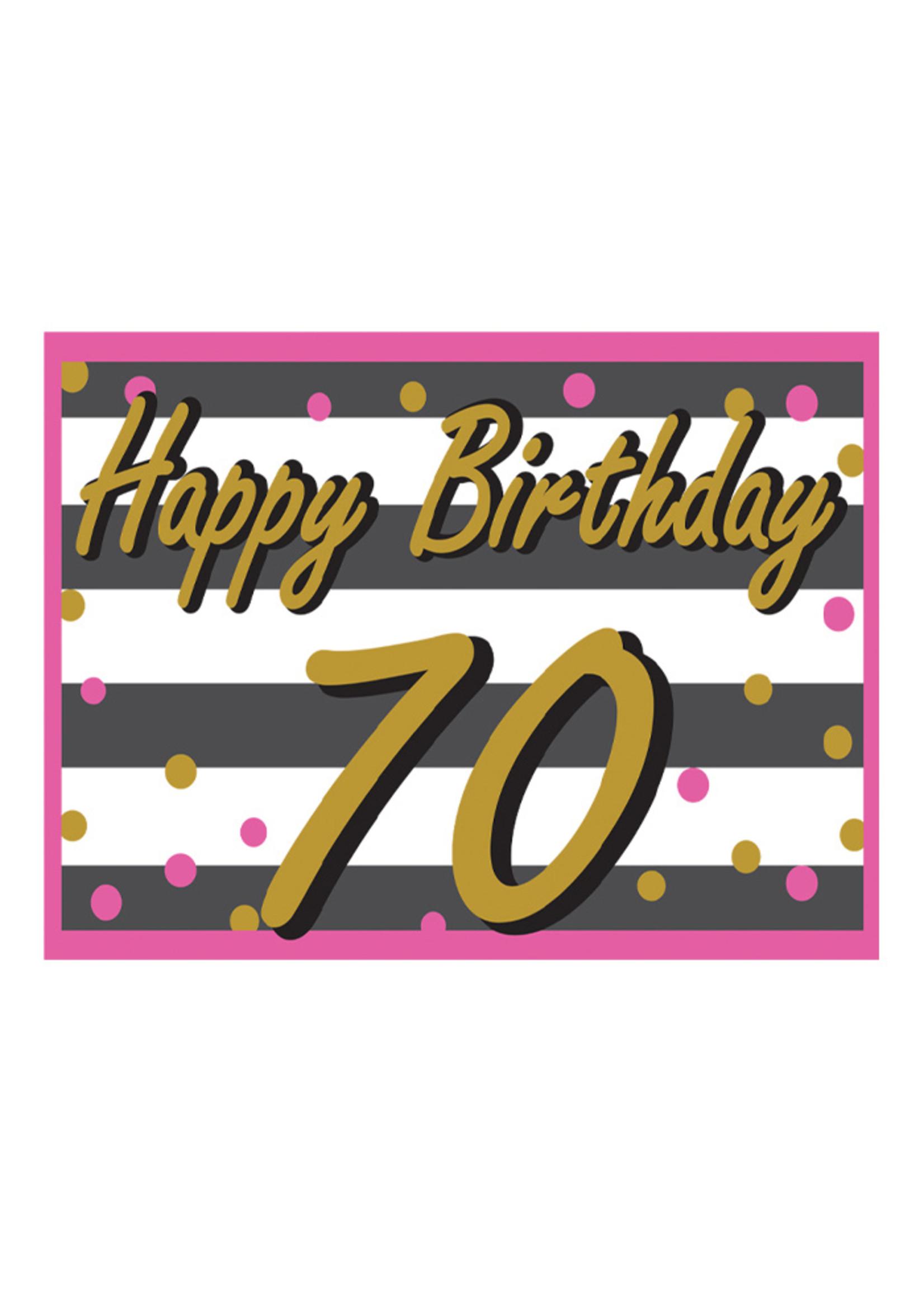 Happy Birthday 70th Pink & Gold Yard Sign