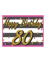 Happy Birthday 80th Pink & Gold Yard Sign