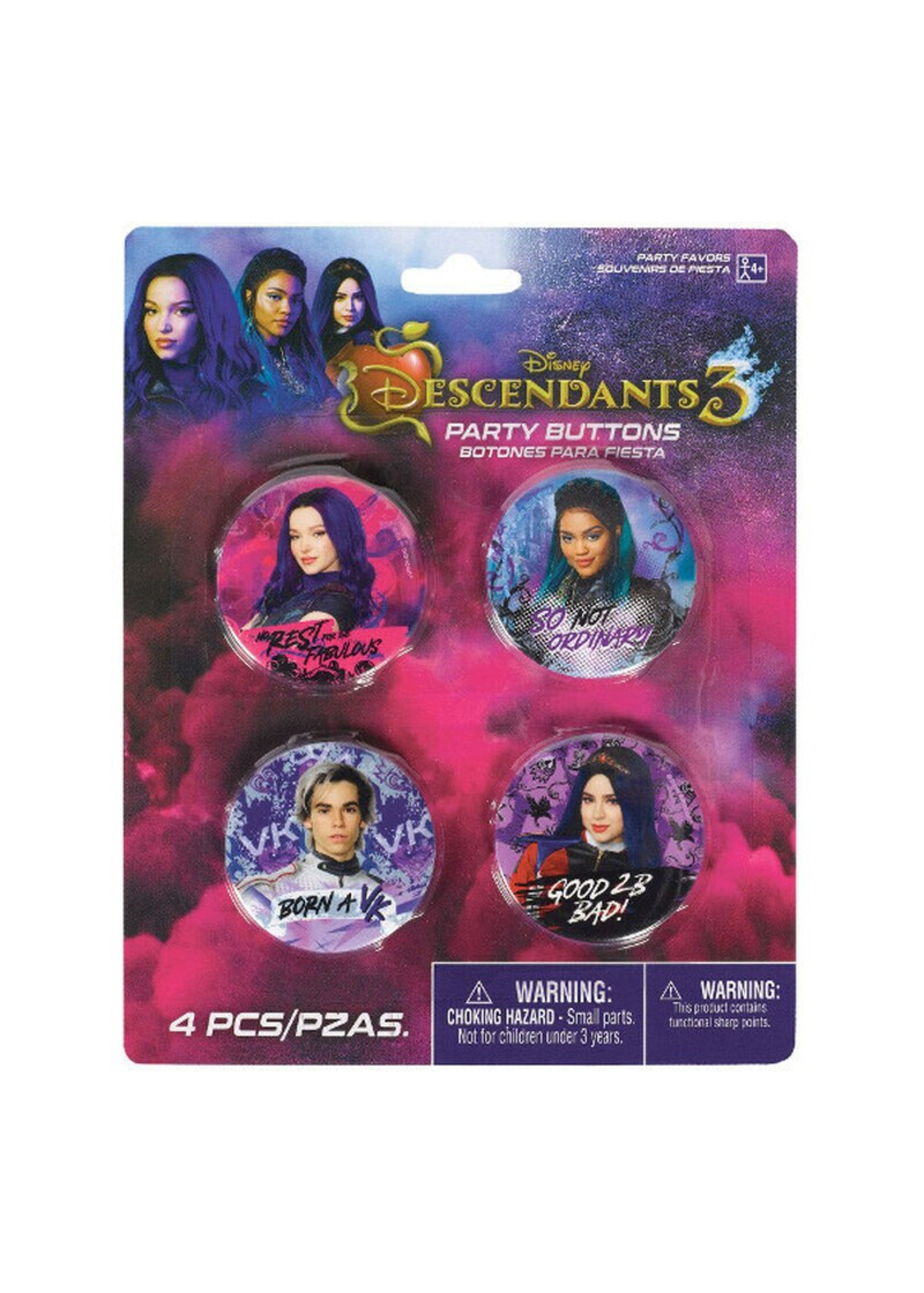 Descendants 3 Buttons 4ct