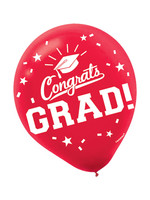 Grad Red Latex Balloons - 15ct