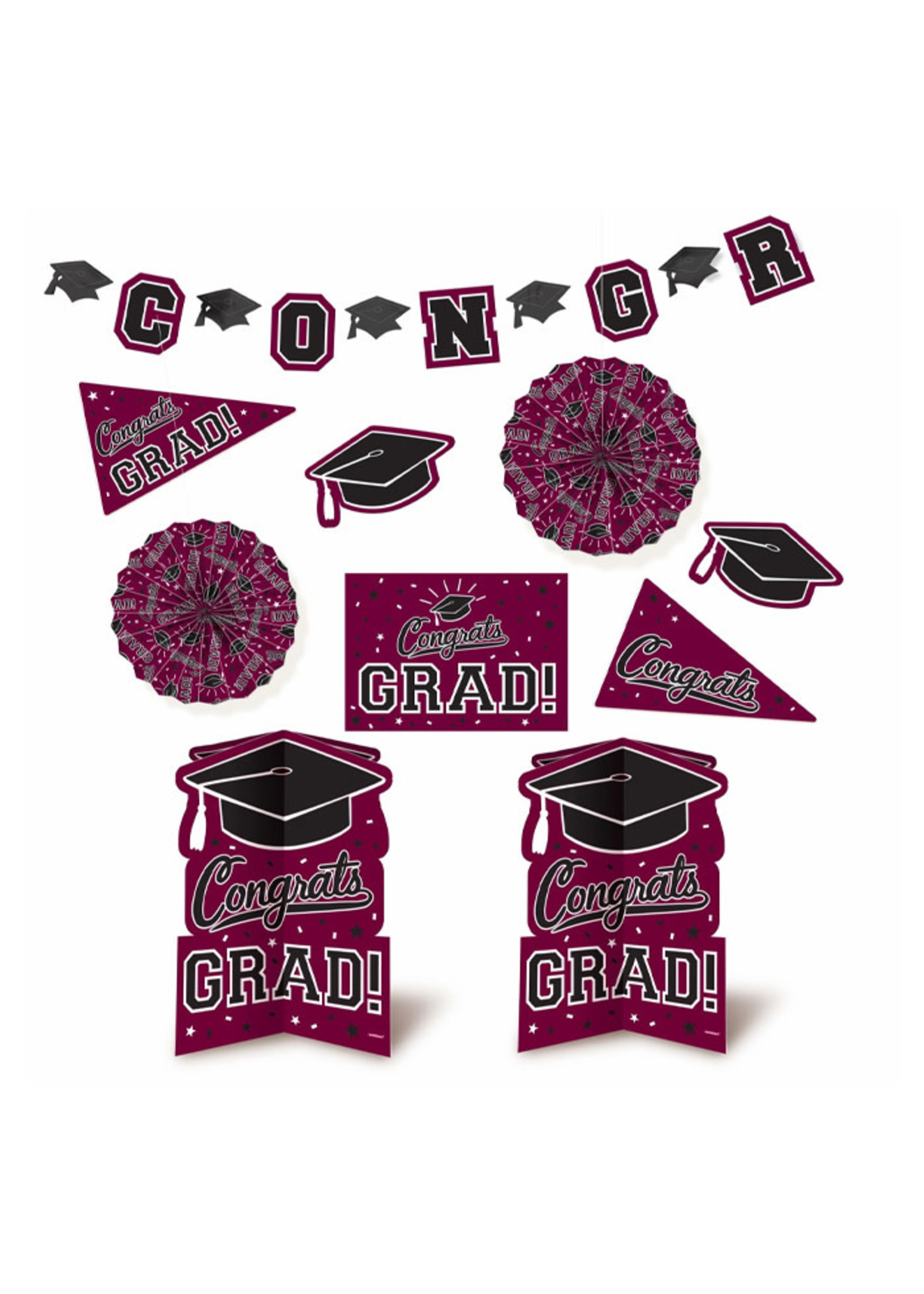 Grad Room Decorating Kit - Burgundy