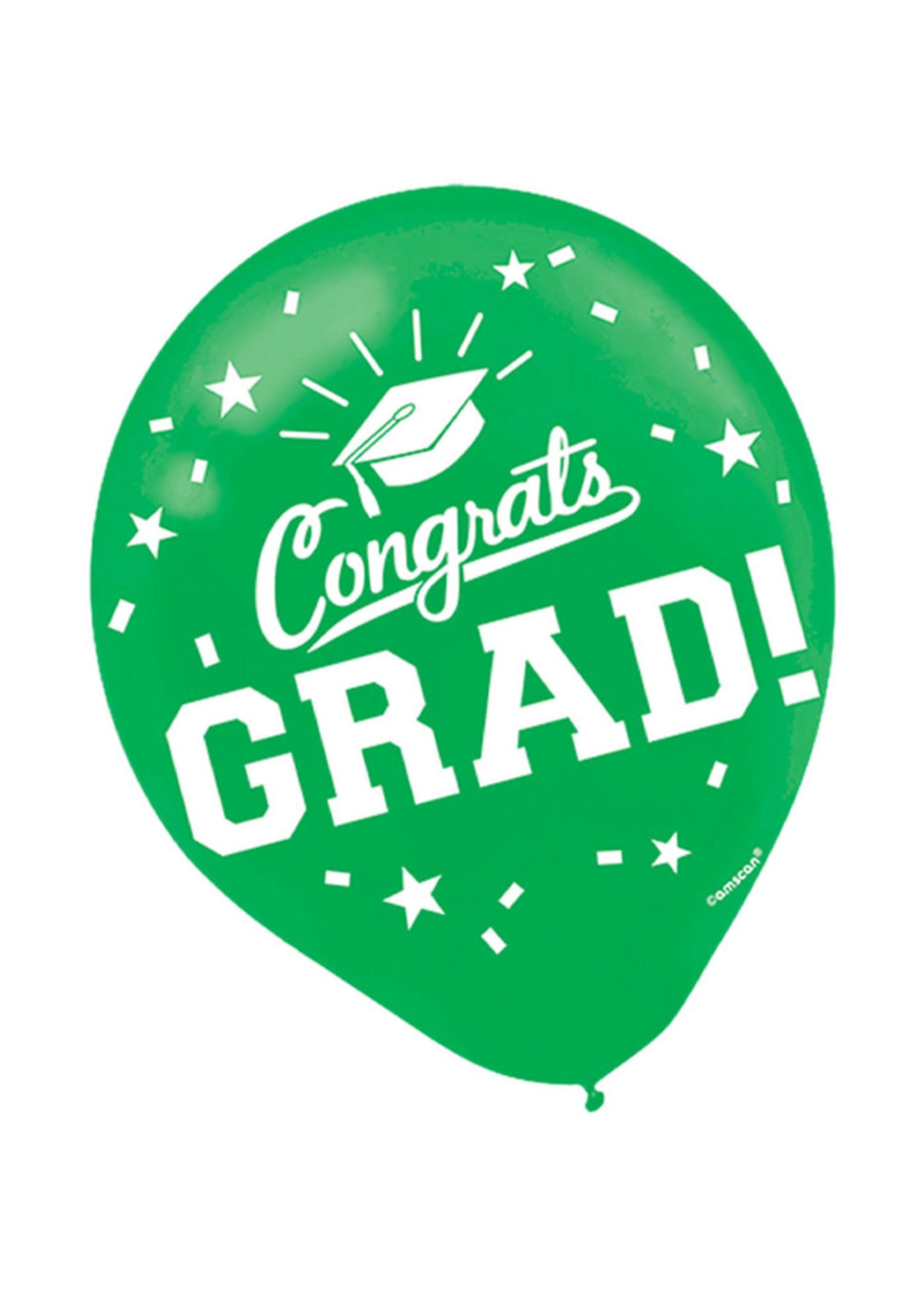 Green Grad Latex Balloons - 15ct