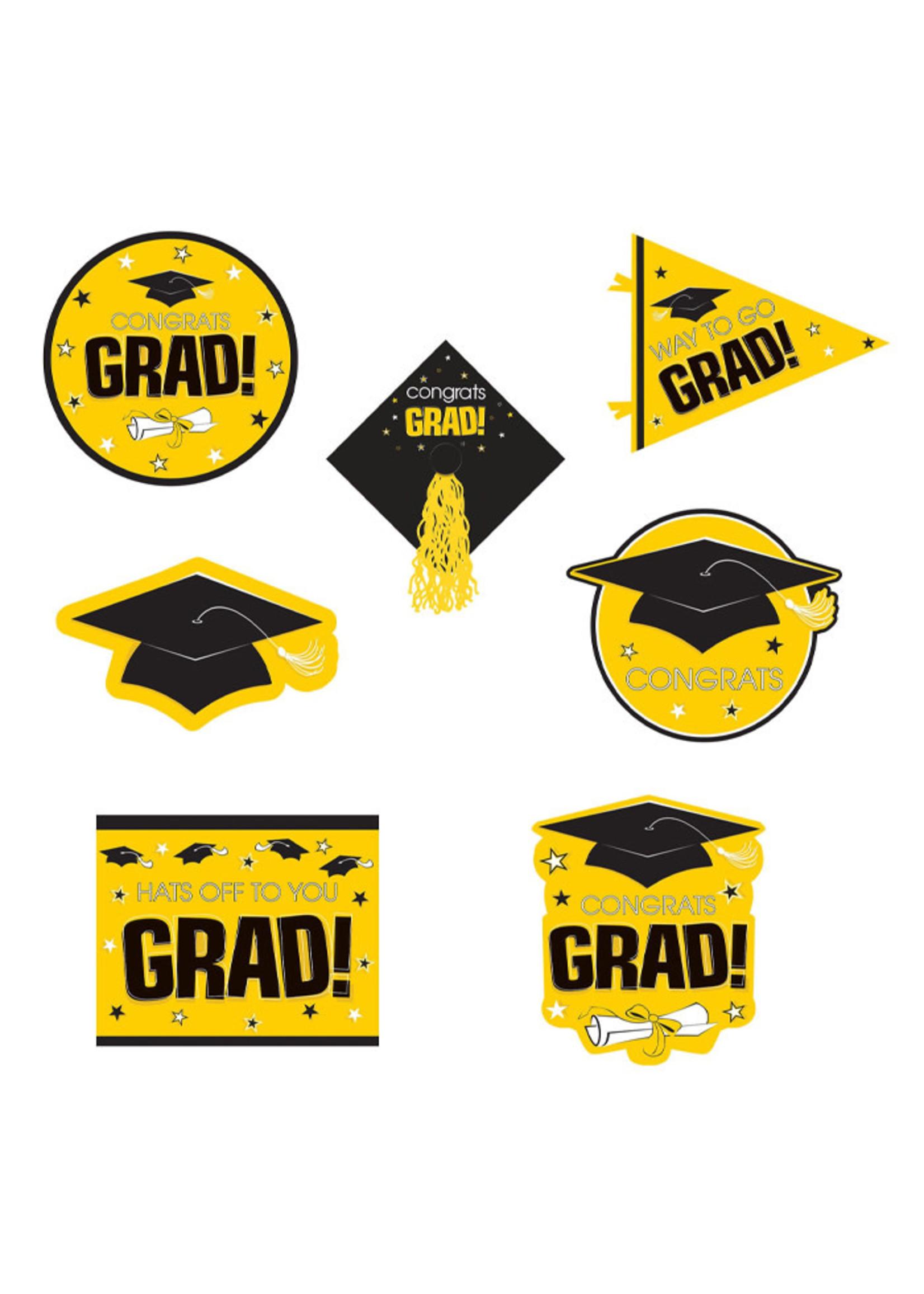 Yellow Graduation Deluxe Cutouts - 16ct