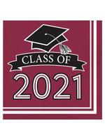 Creative Converting Class Of 2021 Luncheon Napkin, Burgundy - 36ct