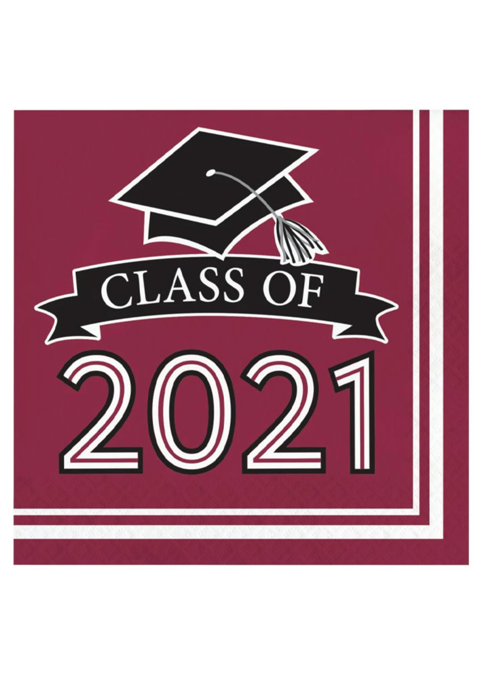 Creative Converting Class Of 2021 Luncheon Napkin, Burgundy - 36ct