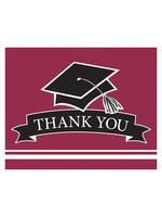 Creative Converting Burgundy Grad Thank You Notes - 25 ct