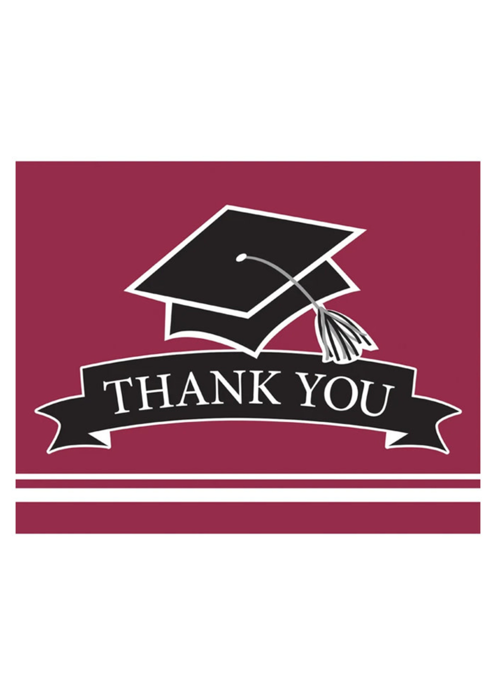 Creative Converting Burgundy Grad Thank You Notes - 25 ct
