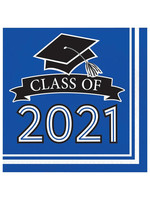 Creative Converting Class Of 2021 Luncheon Napkin, Blue - 36ct