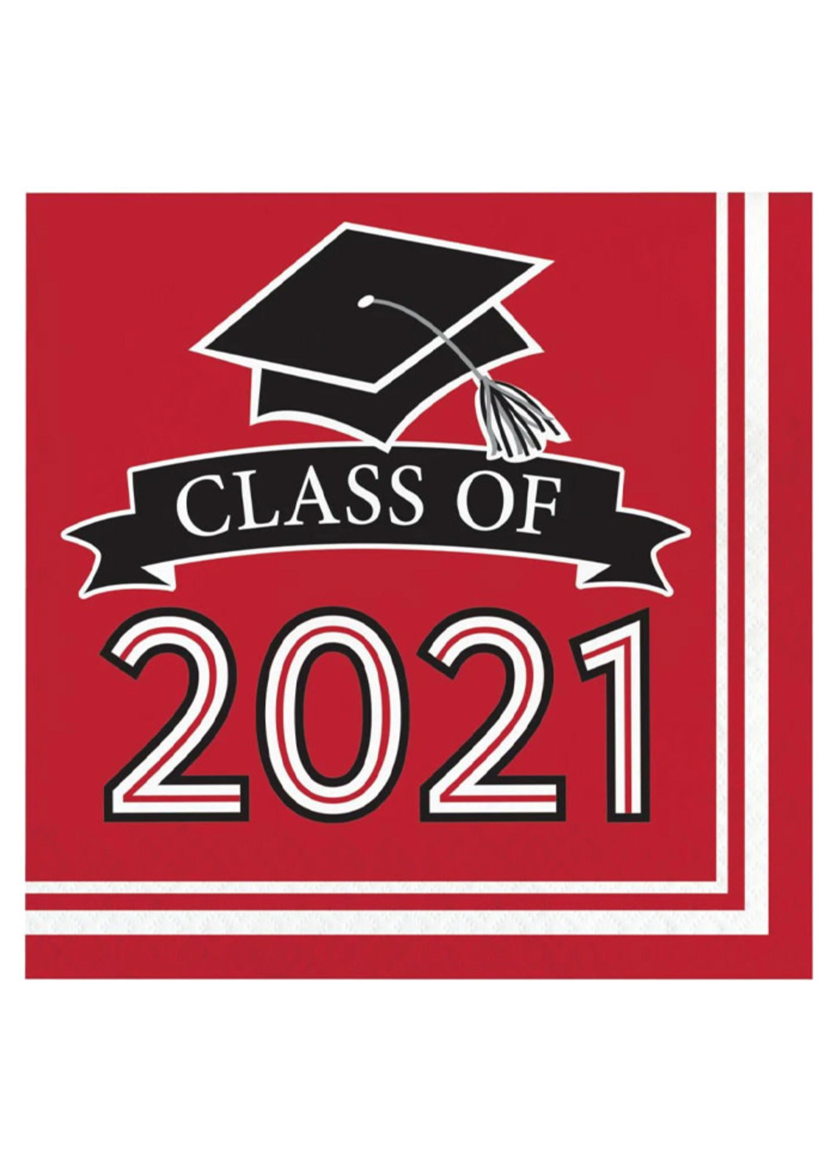 Creative Converting Class Of 2021 Luncheon Napkin, Red - 36ct