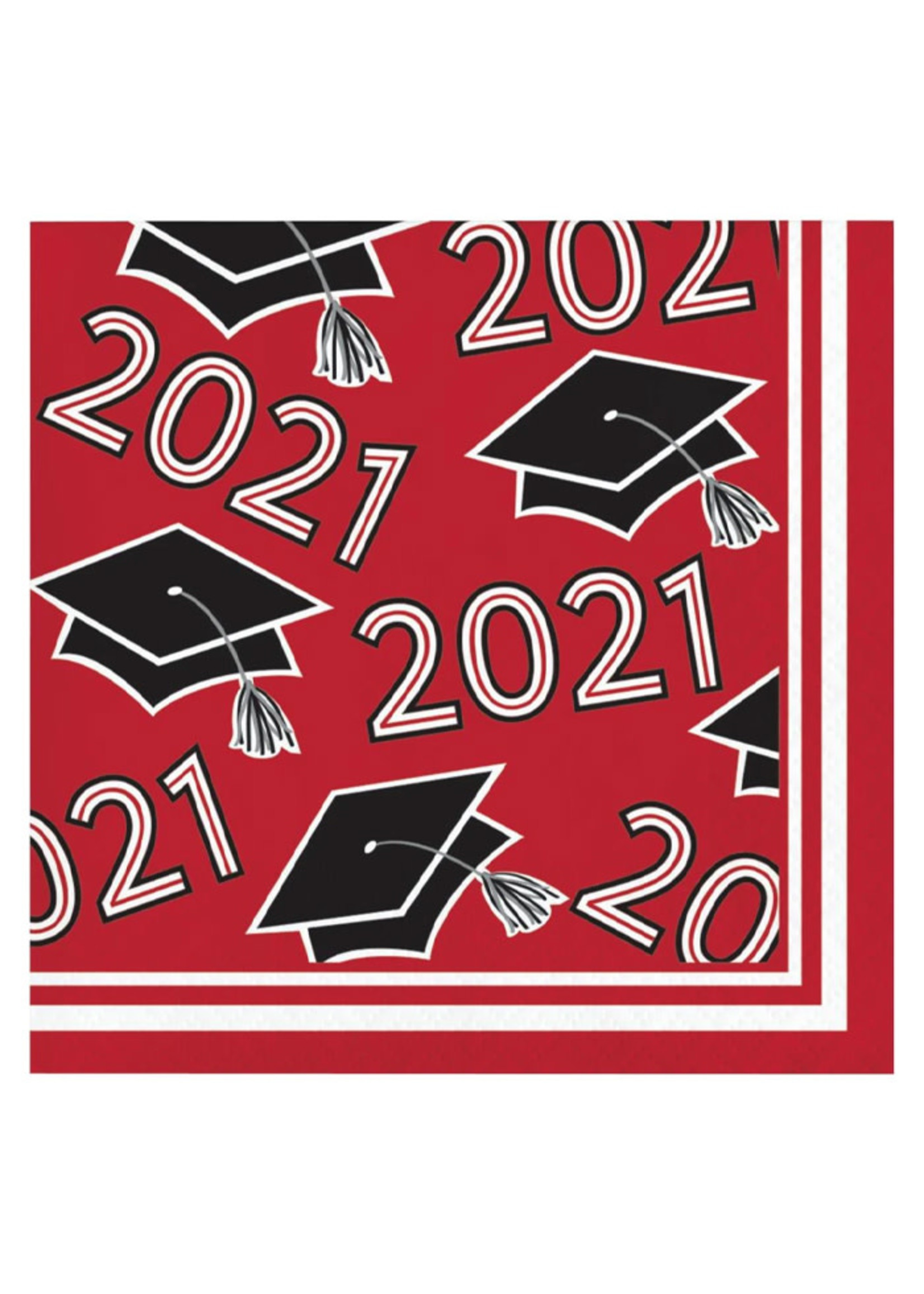 Creative Converting Class Of 2021 Beverage Napkin, Red - 36ct