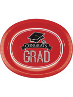 "Creative Converting Red Grad Oval Platters, 10"" X 12"" - 8 ct"