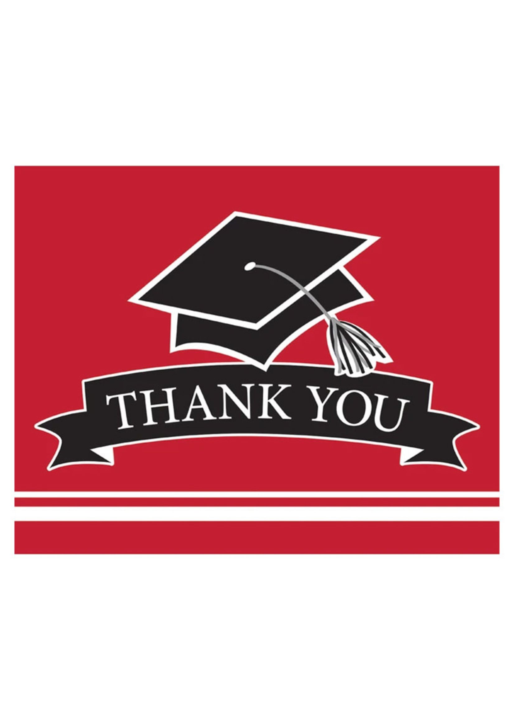 Creative Converting Grad Red Thank You Notes - 25 ct