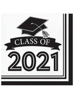 Creative Converting Class Of 2021 Luncheon Napkin, White - 36ct