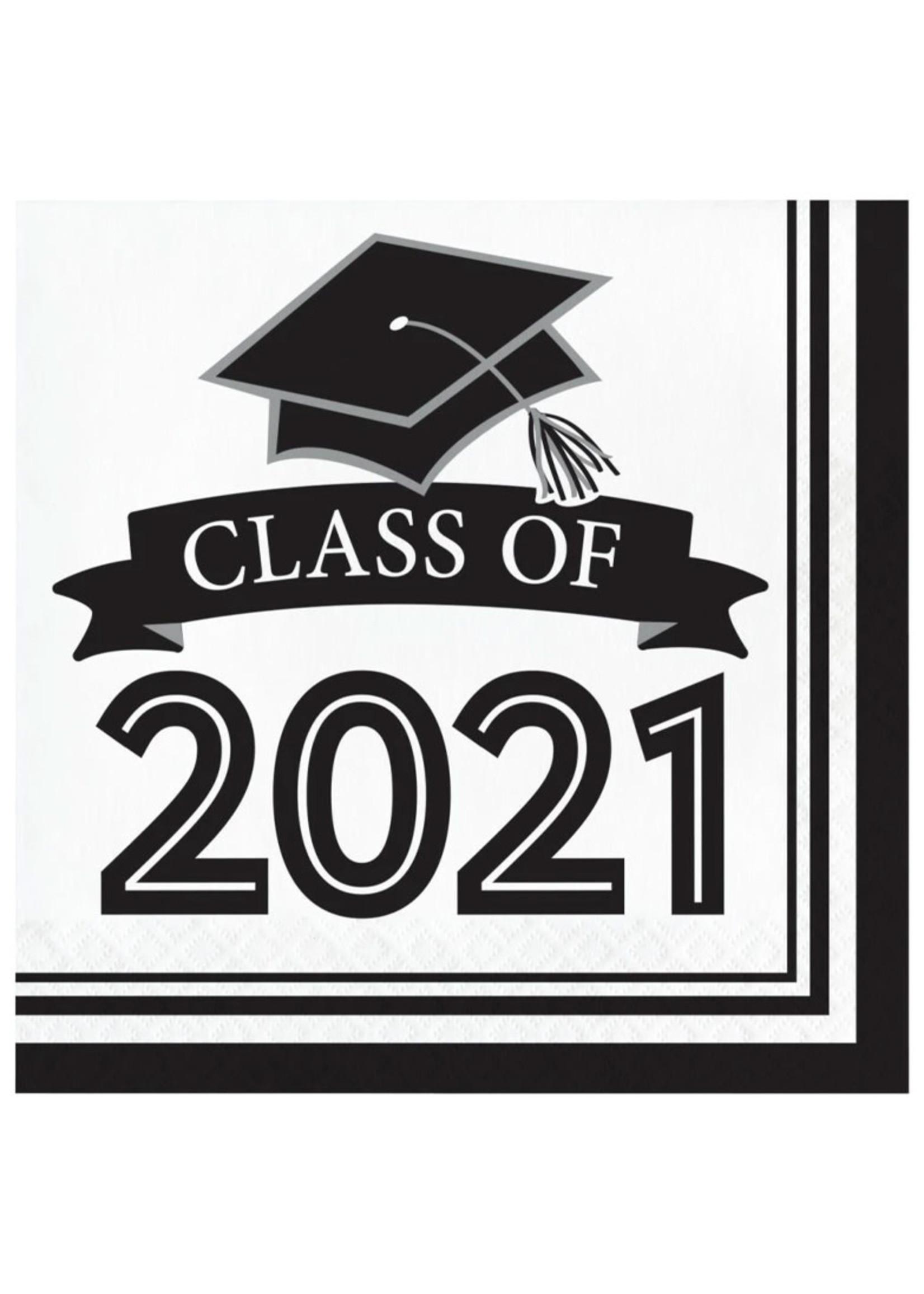Creative Converting Class Of 2021 Luncheon Napkin, White - 36ct