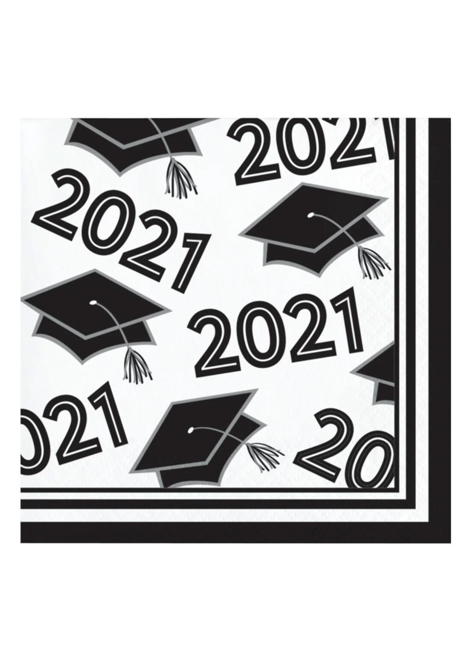 Creative Converting Class Of 2021 Beverage Napkin, White - 36ct