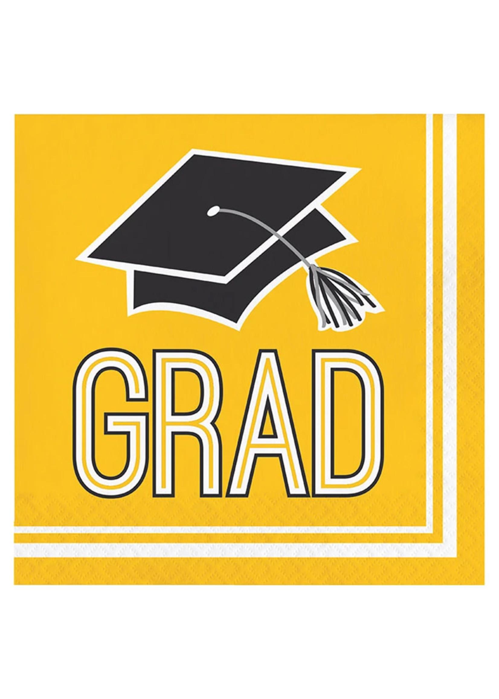 Creative Converting Graduation Yellow Lunch Napkins - 36 ct