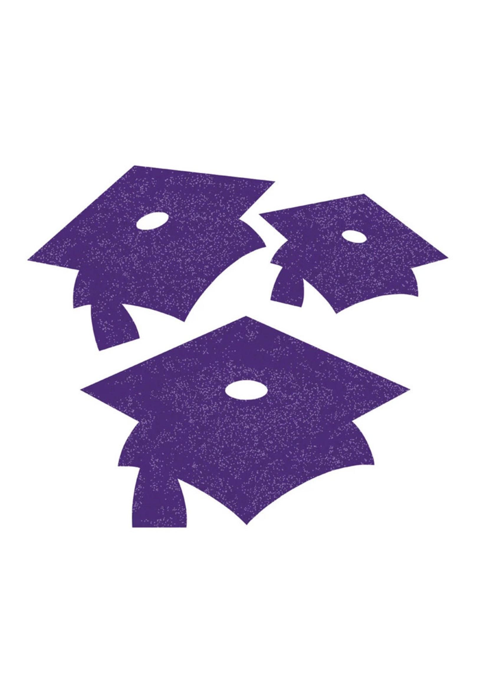 Creative Converting Purple Mortarboard Graduation Cutouts - 12 ct