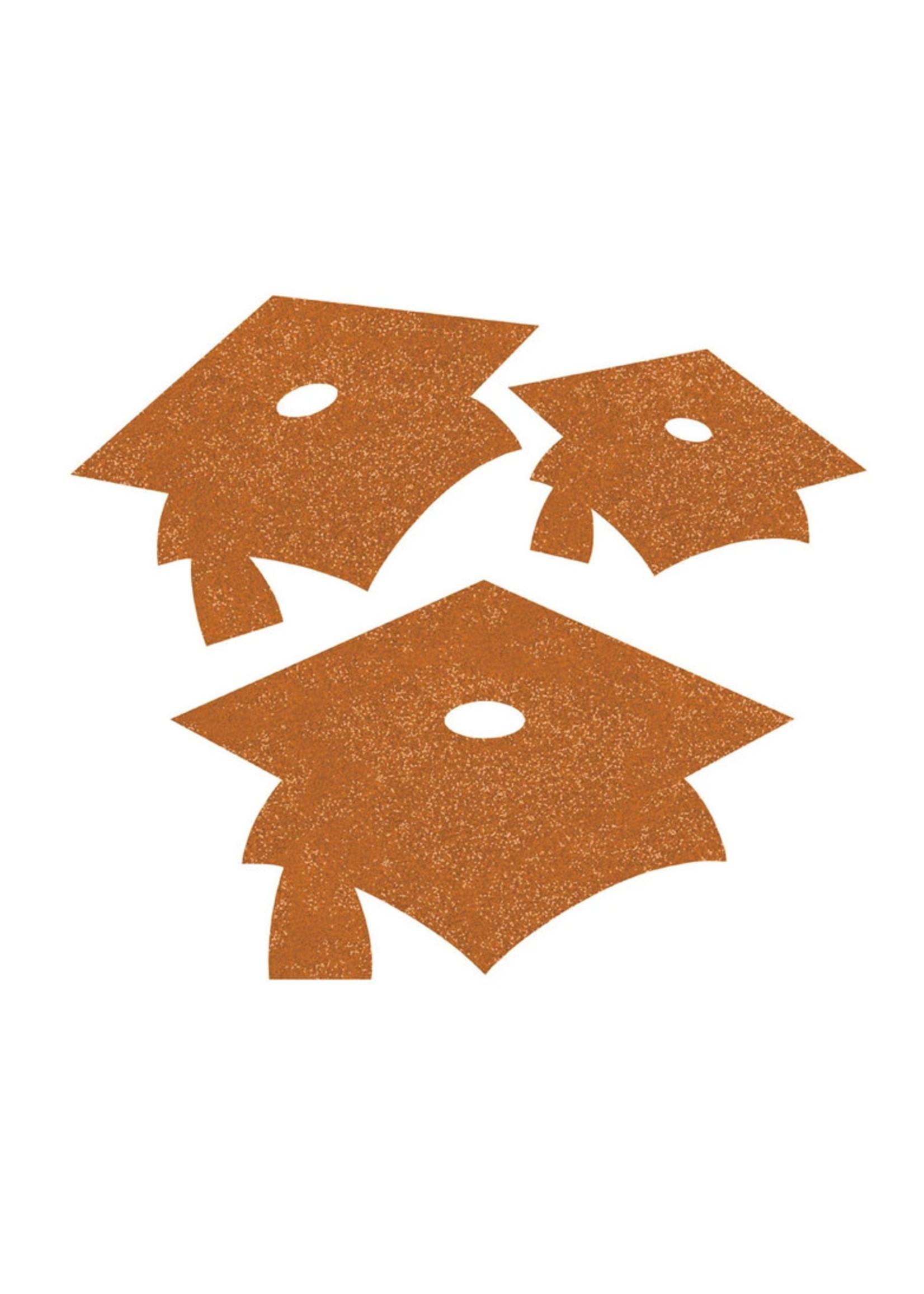 Creative Converting Orange Mortarboard Graduation Cutouts - 12 ct