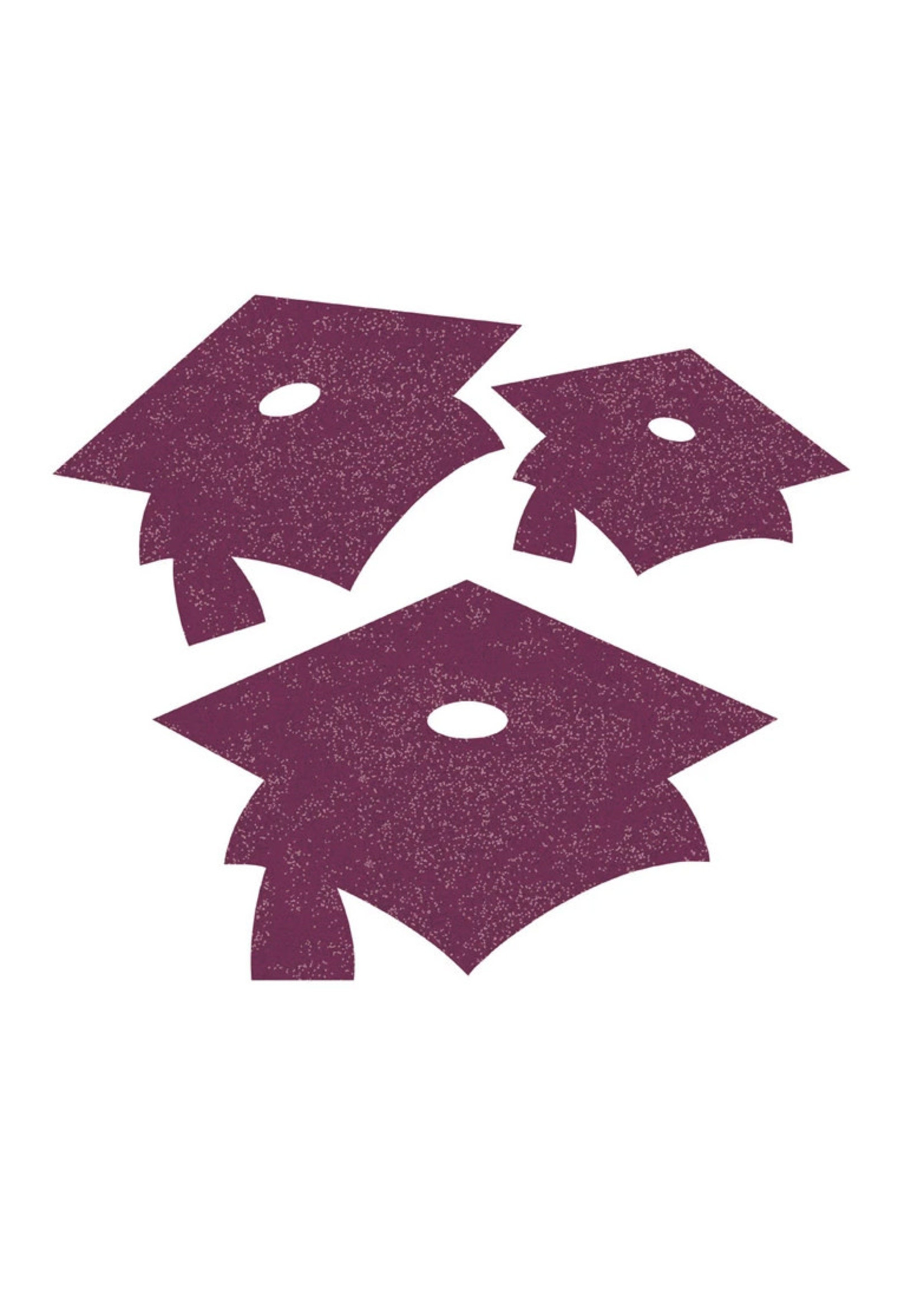Creative Converting Burgundy Mortarboard Graduation Cutouts - 12 ct