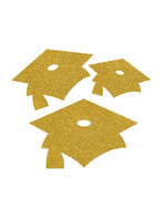 Creative Converting Yellow Mortarboard Graduation Cutouts - 12 ct