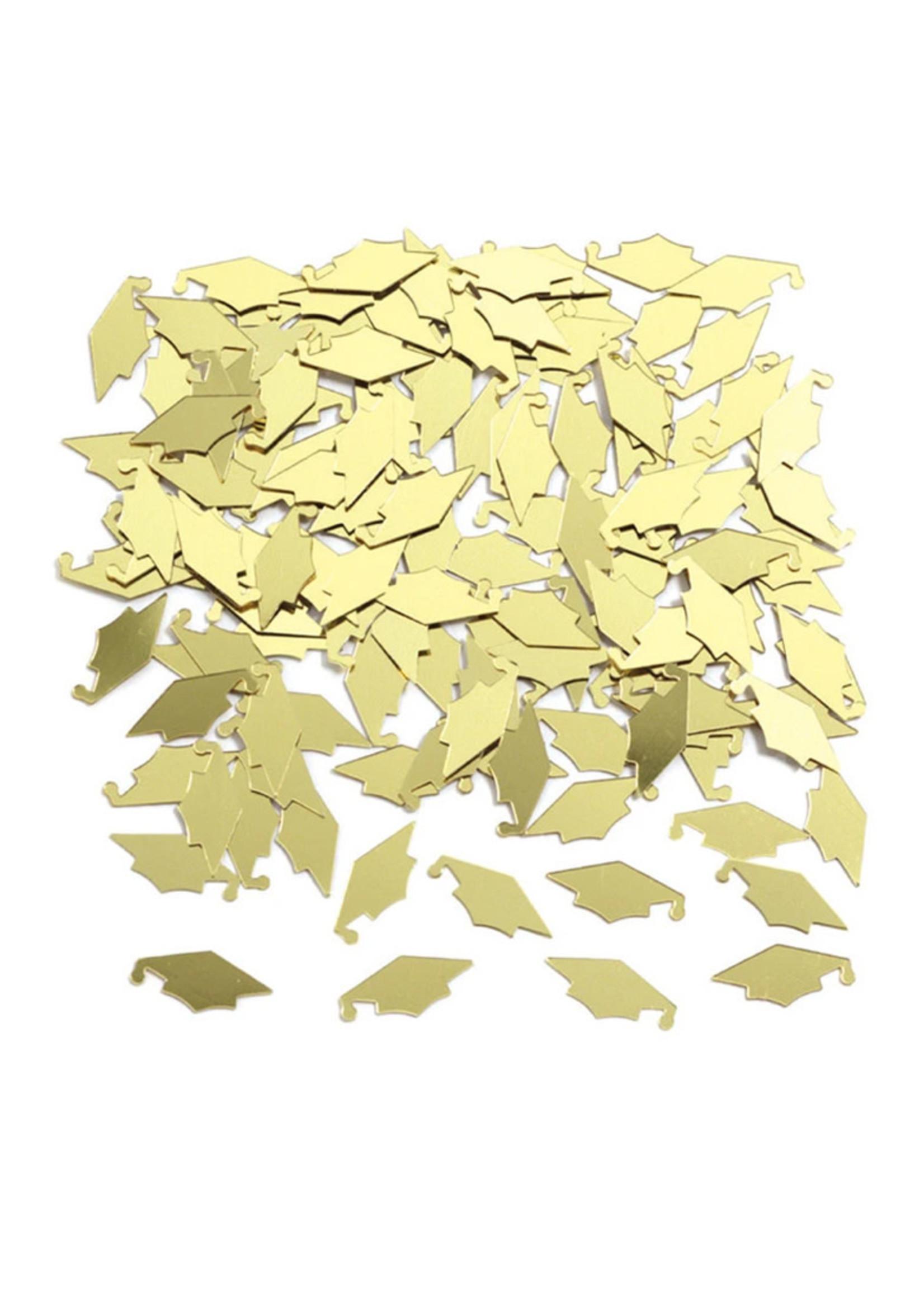 Creative Converting Yellow / Gold Mortarboards Graduation Confetti - 0.5 oz