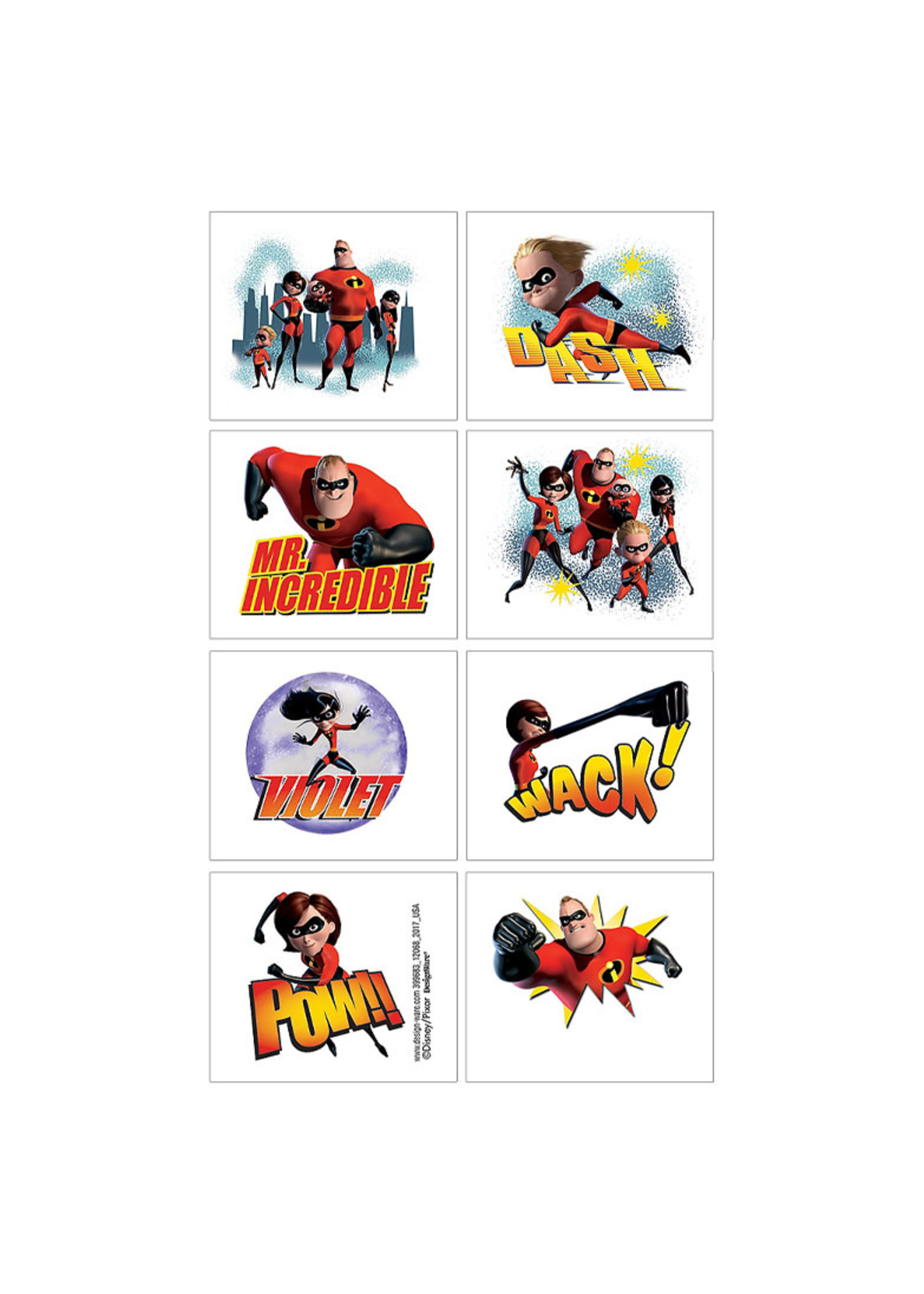Incredibles 2 Tattoos 1 Sheet