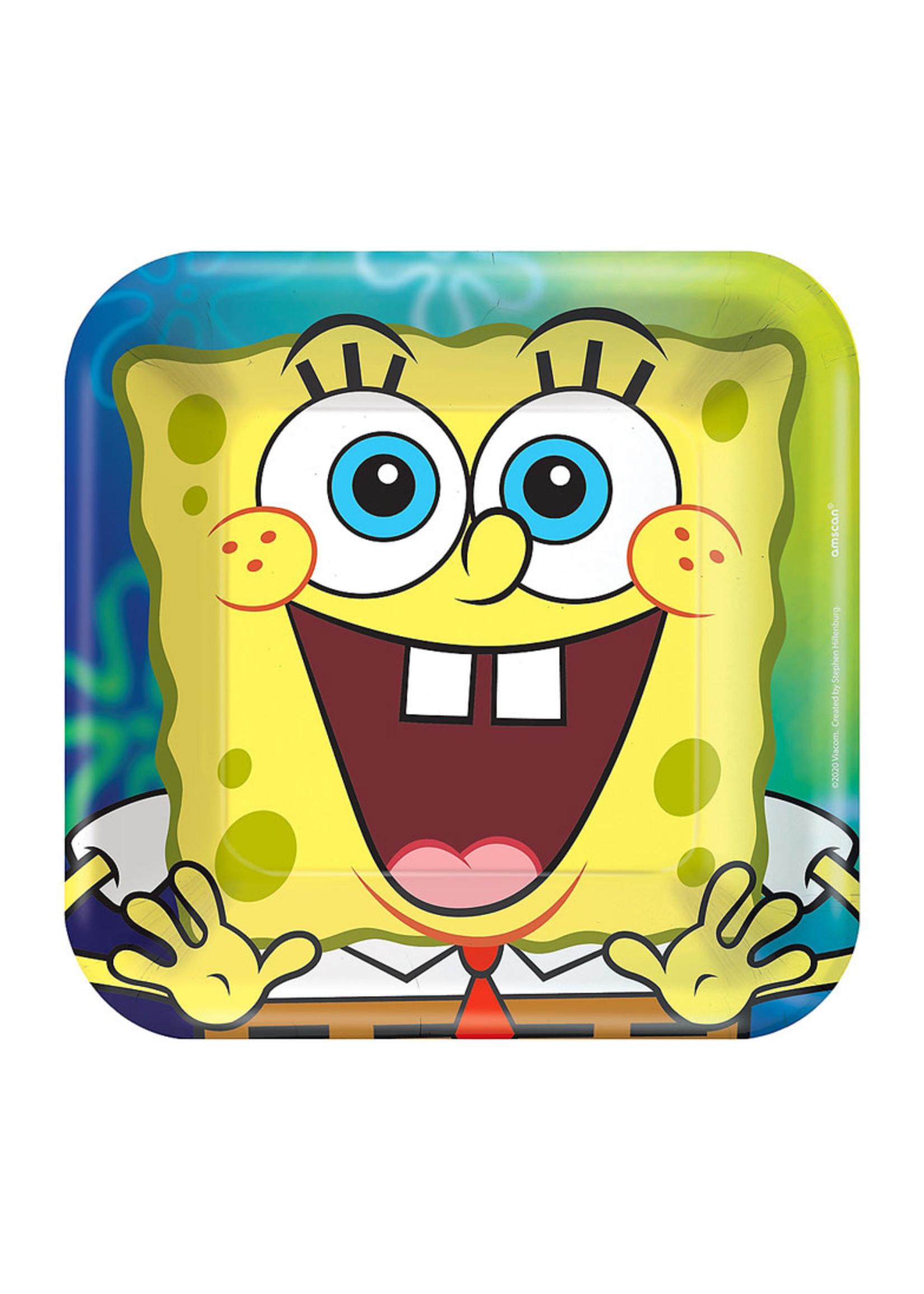 SpongeBob SquarePants Paper Square Dessert Plates, 7in, 8ct