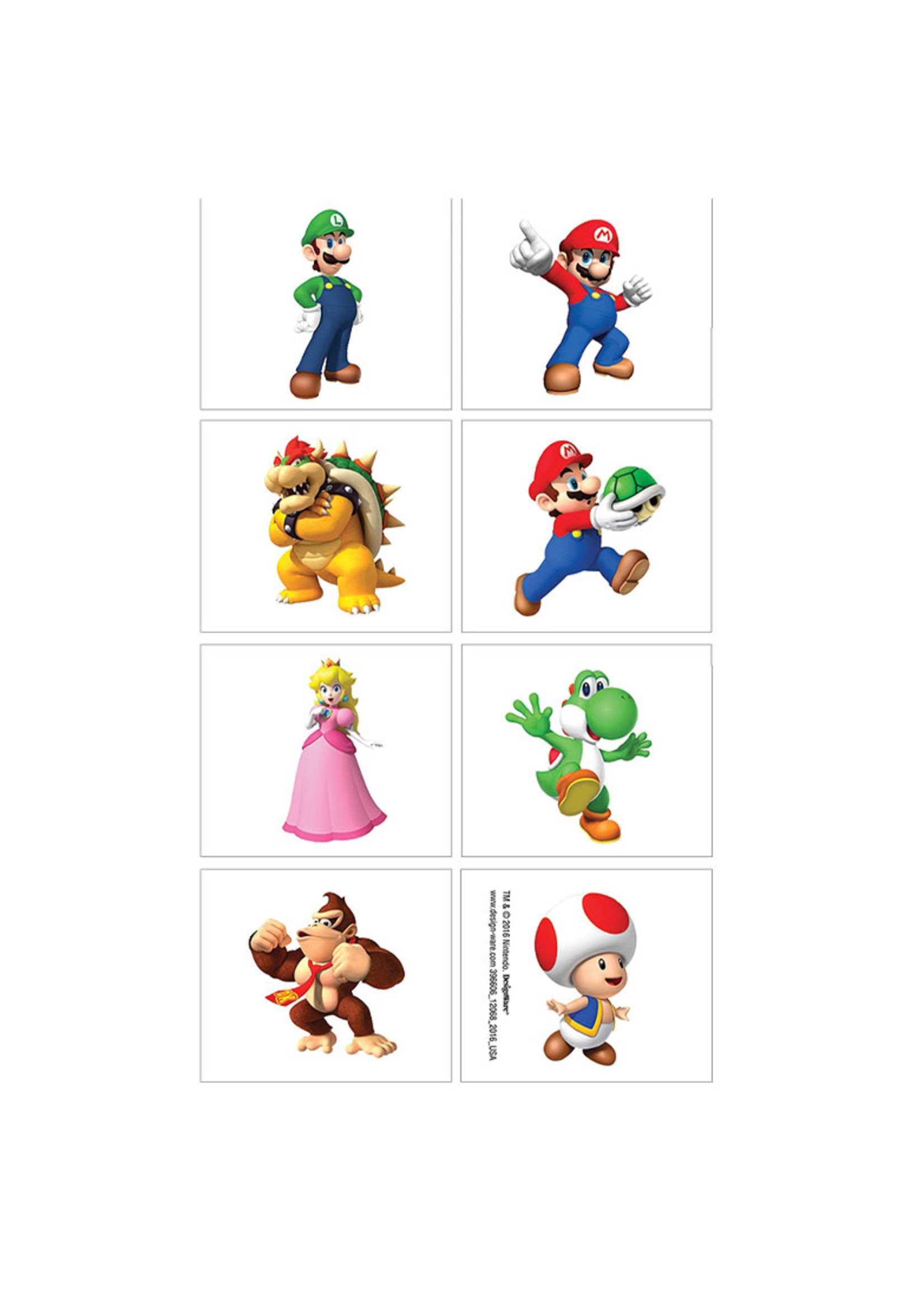 Super Mario Tattoos 1 Sheet
