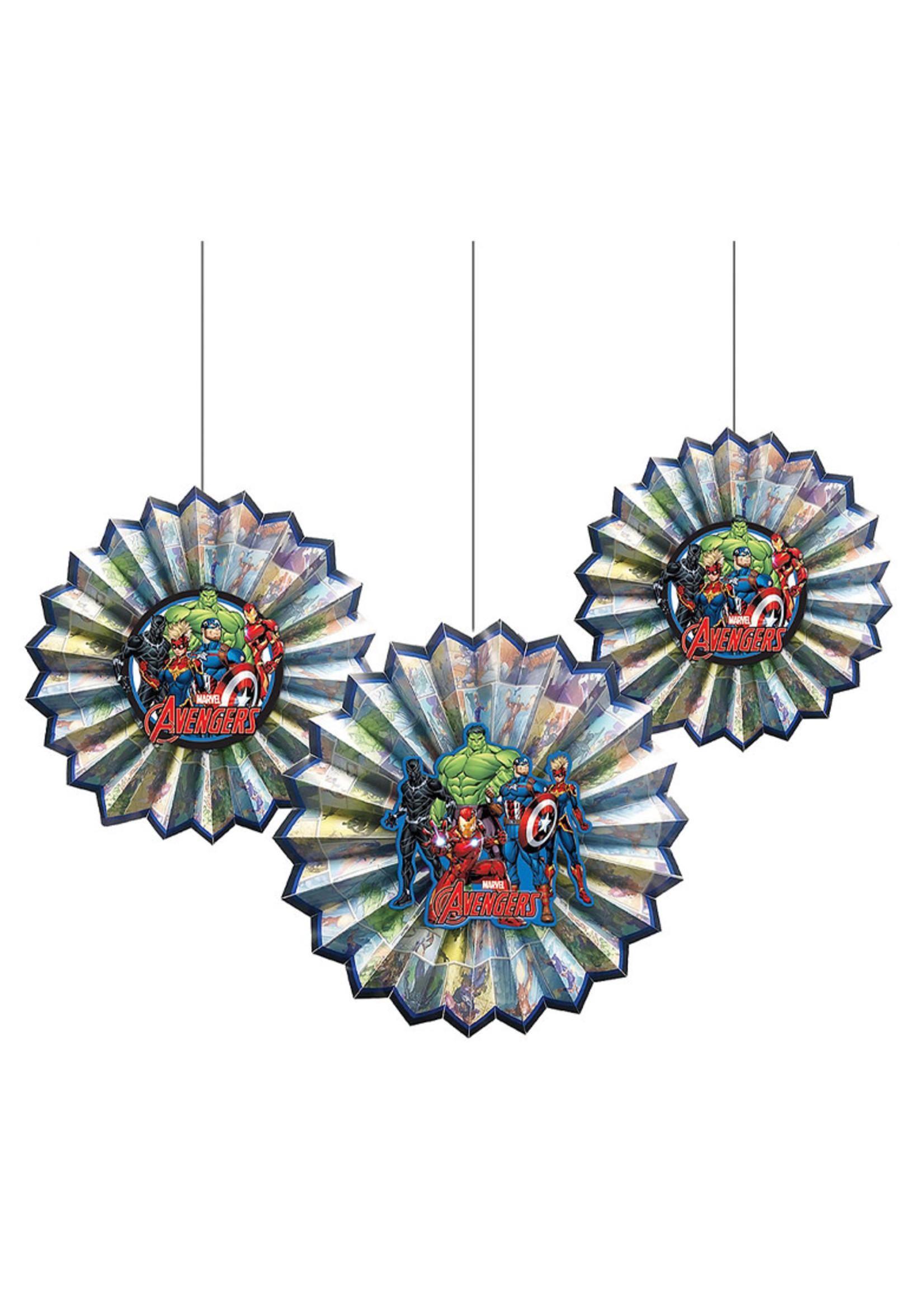 Marvel Powers Unite Paper Fan Decorations 3ct