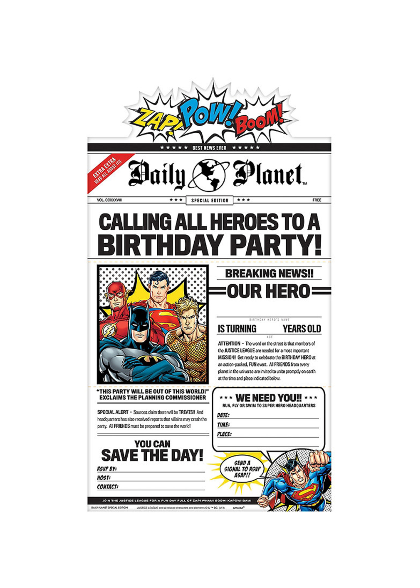 Justice League Heroes Unite Invitations 8ct