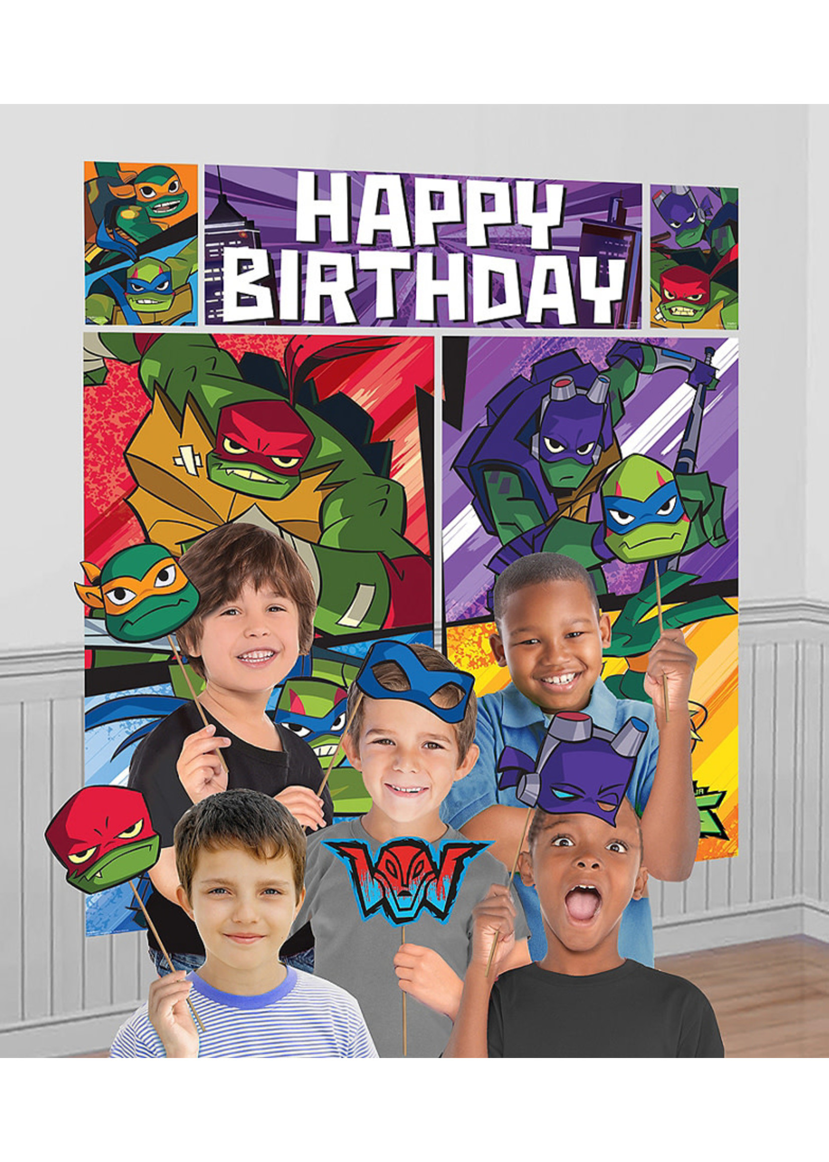 Rise of the Teenage Mutant Ninja Turtles Scene Setter with Photo Booth Props