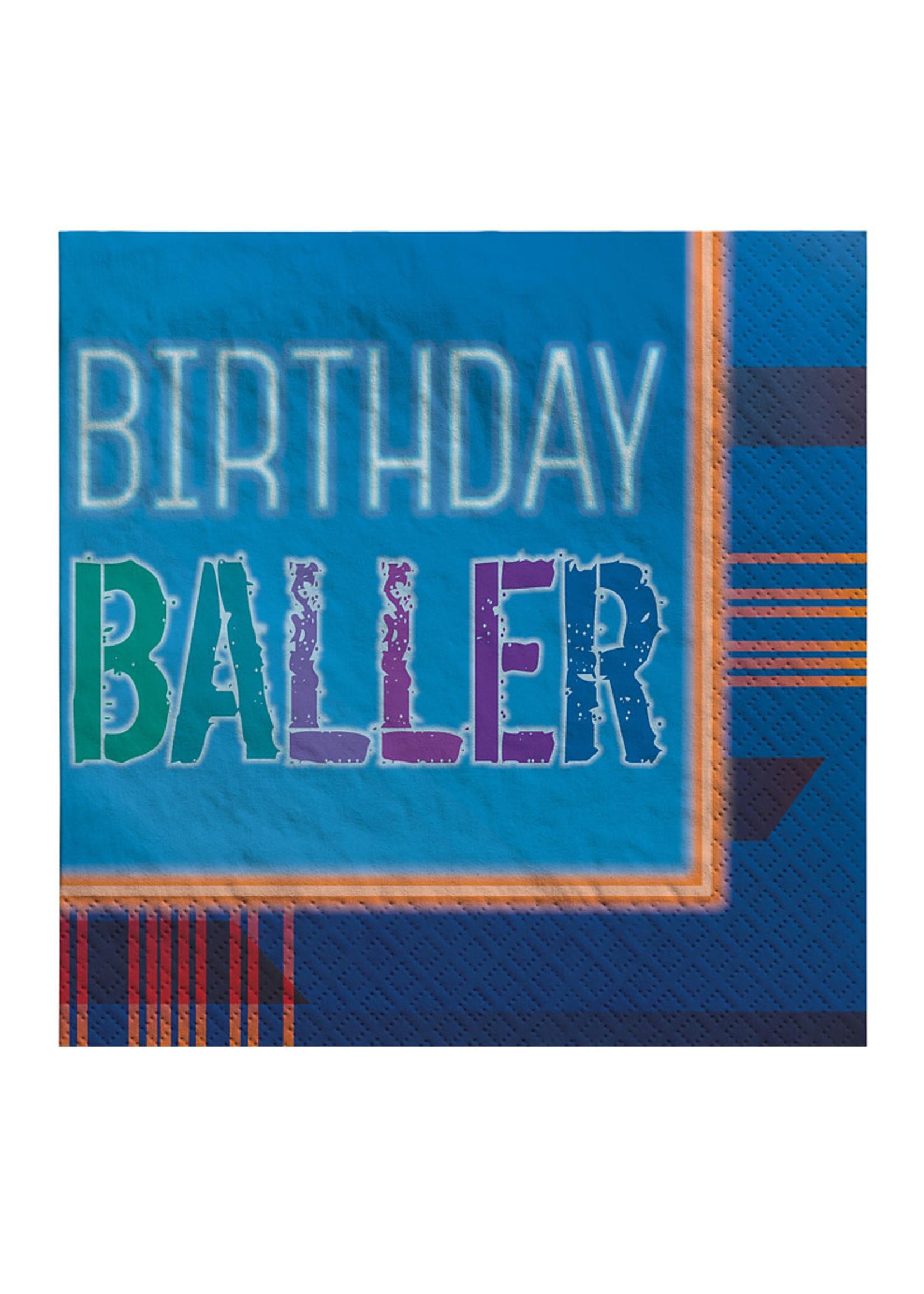 Birthday Baller Beverage Napkins 16ct
